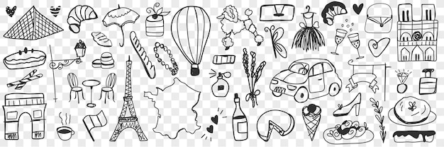 Diverse franse symbolen doodle set. verzameling van hand getrokken eclairs koekjes kaas champagne, auto's, architectuur, mode-accessoires, stokbrood, honden, parfum geïsoleerd