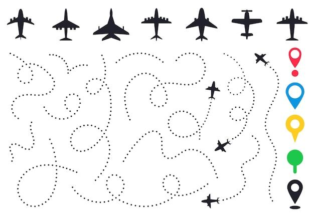 Diverse gestippelde vliegtuigroutes