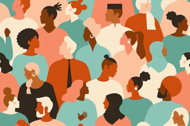 Diverse groep stijlvolle mensen die zich verenigen