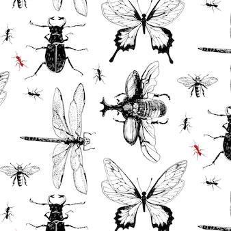 Diverse insecten in het patroon