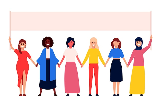 Diverse internationale en interraciale groep staande vrouwen.