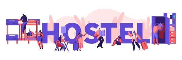 Diverse jonge mensen die in hostel wonen. mannelijke en vrouwelijke toeristische personages verhuizen naar een motel om te overnachten, goedkope accommodatie voor studenten of reizigers. cartoon platte vectorillustratie, poster