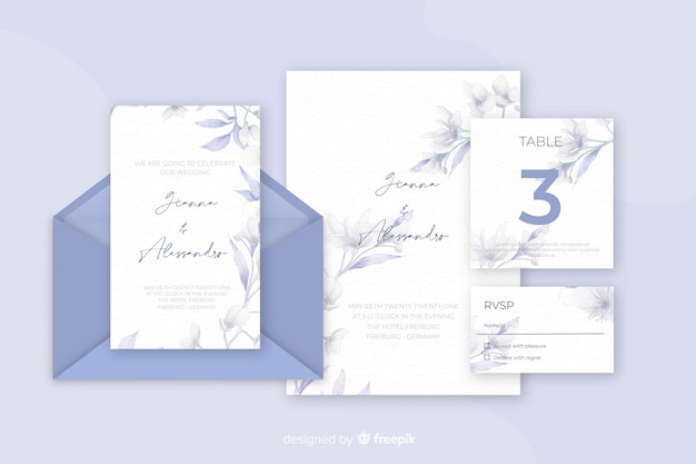 Diverse kantoorbehoeften voor blauwe de schaduwen van huwelijksuitnodigingen