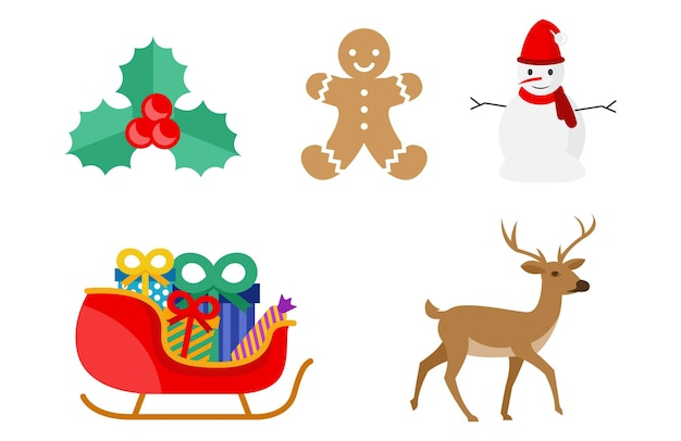 Diverse karakters ter viering van kerstmis