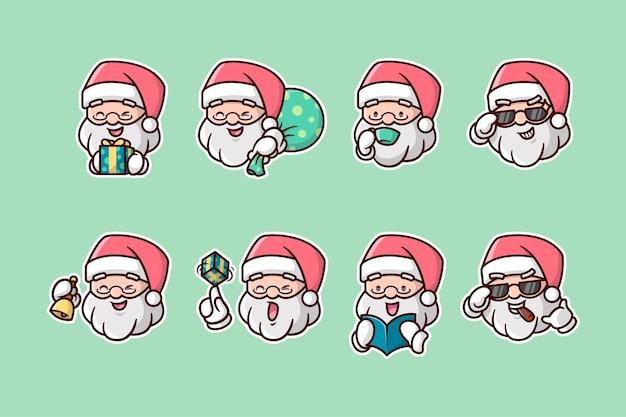 Diverse kerstman head expression sticker pack