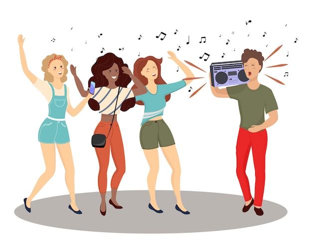 Diverse kleine mensen dansen en luisteren muziek met een koptelefoon. groep van mannelijke en vrouwelijke stripfiguren.