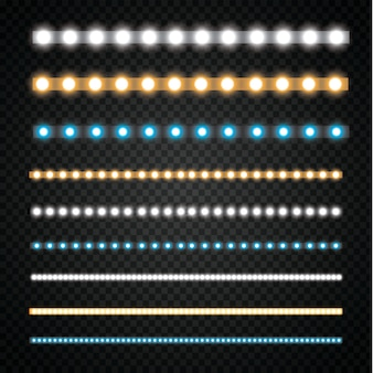 Diverse led strepen op een zwarte en transparante achtergrond, gloeiende led slingers