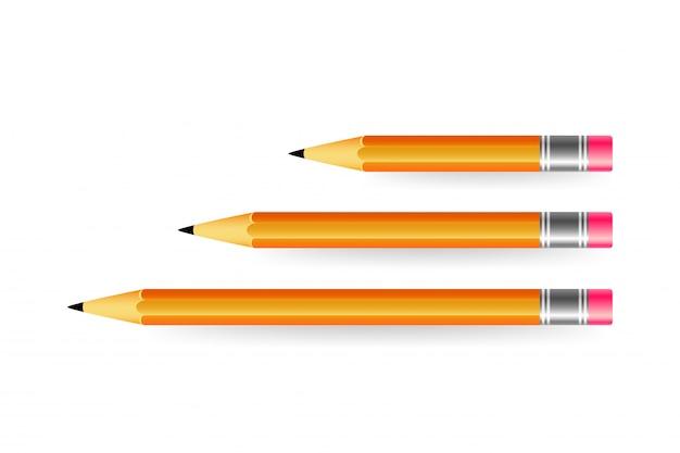 Diverse lengte van potloden op witte achtergrond. variaties van potloden.