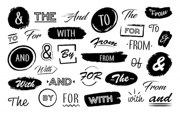 Diverse letters ampersand en woorden
