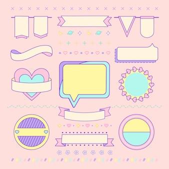 Diverse leuke en girly vectoren van het ontwerpelement