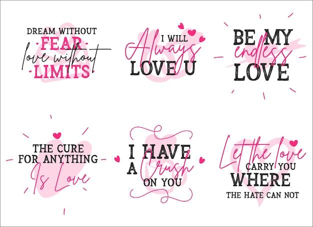 Diverse liefde citaten design collectie