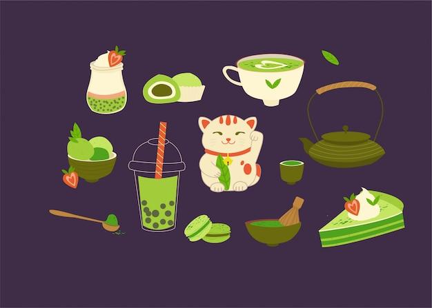 Diverse matcha theeproducten. matcha-poeder, macarons, ijs, cake, theepot, drankje, thee, theebladeren, gelukskat, quinoa-yoghurt.