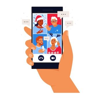 Diverse mensen chatten op het huisfeest van de online videoconferentie. vrienden ontmoeten elkaar online. feest vanuit huis via videogesprek.