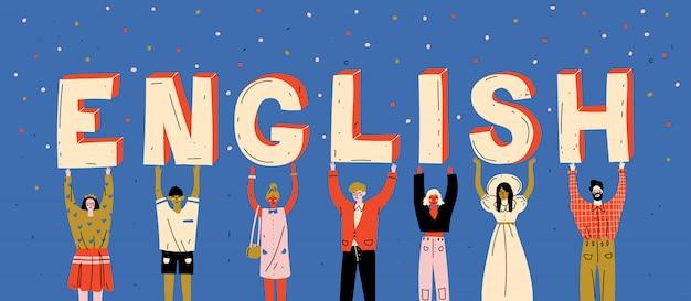 Diverse mensen die brievenwoord het engels houden. leer een vreemde taal