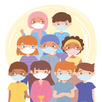 Diverse mensen die gezichtsmaskers droegen tijdens de covid 19 pandemie