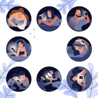 Diverse mensen kijken naar slimme mobiele telefoons in bed