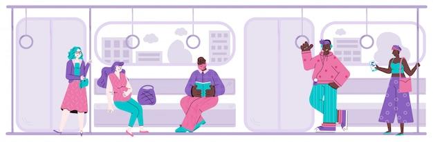 Diverse mensen stripfiguren in metro vlakke afbeelding.