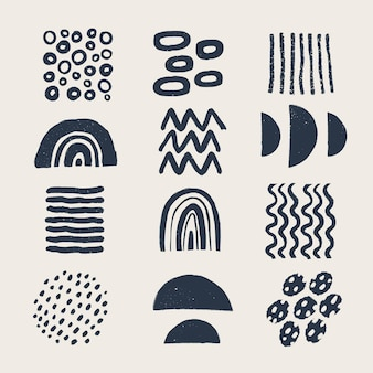 Diverse moderne organische vormen en elementen in vintage stijl met grunge textuur