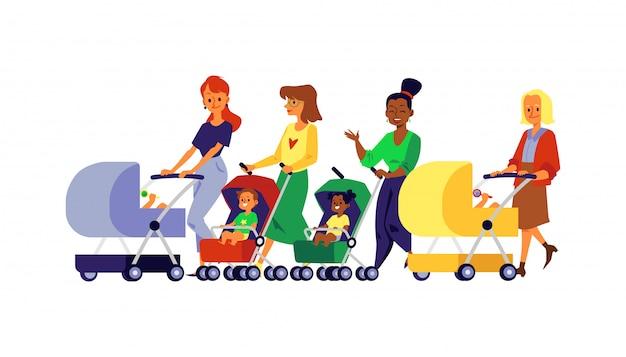 Diverse moeder en baby met kinderen in geïsoleerde vervoer vlakke illustratie.