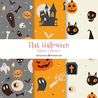 Diverse mooie halloween patronen in plat ontwerp