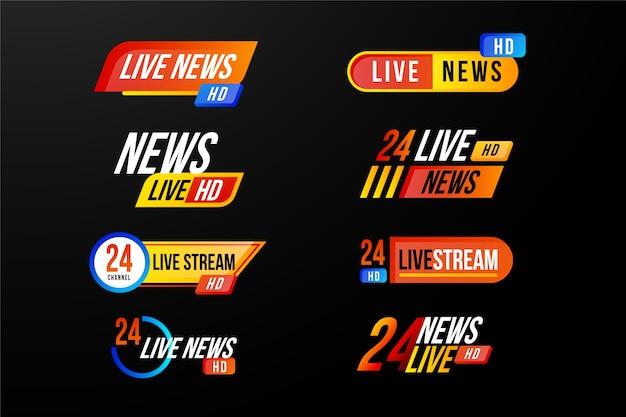 Diverse ontwerpen voor live steams nieuwsbanners
