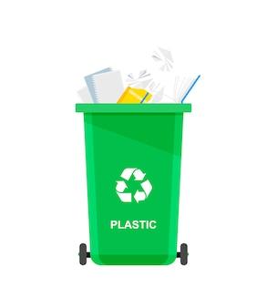 Diverse papierafval in speciale urn. recyclen. bak voor recycling met gesorteerd afval en afval.