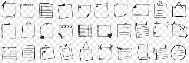 Diverse papieren en notities doodle set. verzameling van handgetekende stukken en pagina's met aantekeningen op papier.
