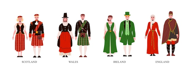 Diverse paren die traditionele kledingsillustratie dragen