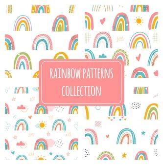 Diverse regenbogen. kinderen tekenen stijl. verschillende ornamenten. kinderachtig scandinavische stijl. plat ontwerp. set van drie hand getrokken gekleurde naadloze patronen. moderne trendy illustraties