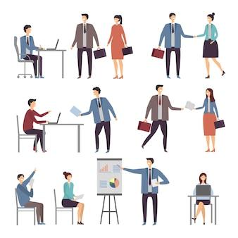 Diverse scène van actieve bedrijfsmensen in bureau. dialogues