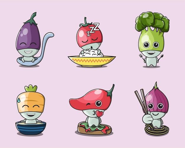 Diverse schattige groenteschotels voor logo's, posters en mascottes