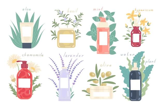 Diverse soorten cosmetica in verschillende verpakkingen met natuurlijke ingrediënten.