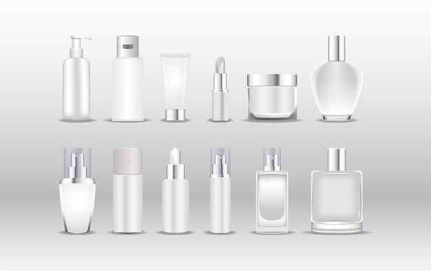 Diverse soorten witte cosmetische verpakkingen