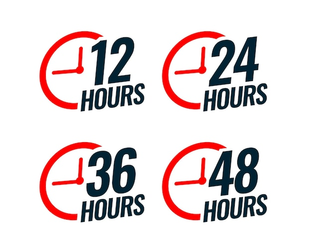 Diverse tijdstickers met tijd