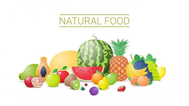 Diverse verse sappige vruchten samenstelling gezonde natuurlijke voeding concept horizontaal