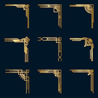 Diverse vintage gouden hoeken gezet