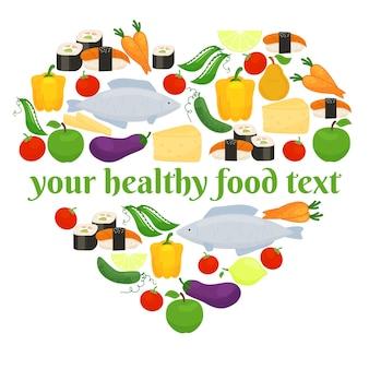Diverse voedingsmiddelen bestaande uit vis en groenten in hartvorm
