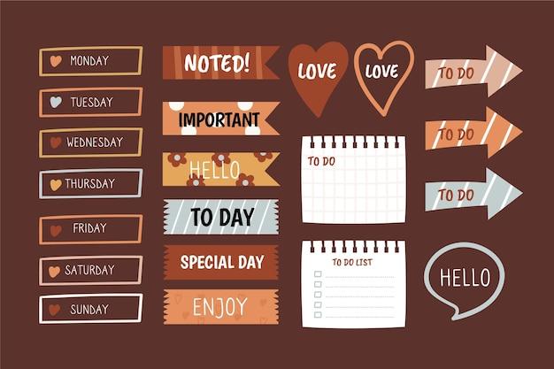 Diverse vormen van planner plakboek set
