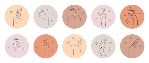 Diverse vrouwelijke handen in verschillende poses pols lineaire schets handpictogrammen cirkels vectorillustratie