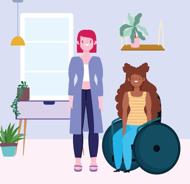 Diversiteit en inclusie, gelukkig meisje op rolstoel en lange vrouw in de kamer
