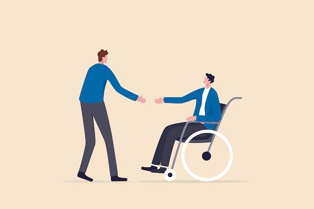 Diversiteit en inclusief in werkplek, baan en carrièremogelijkheden voor mensen met een handicap concept, hr-functionaris die baan biedt voor nieuwe gehandicapte kandidaat op de rolstoel om vaste werknemer te zijn.