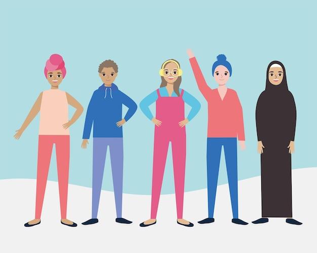 Diversiteit vrouwen staan