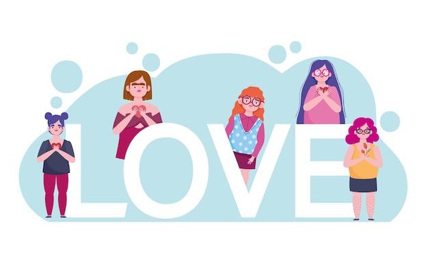 Diversiteit vrouwengroep en belettering cartoon karakter zelfliefde illustratie