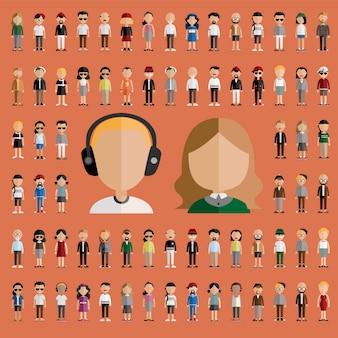 Diversiteitsgemeenschap mensen vlak ontwerppictogrammenconcept