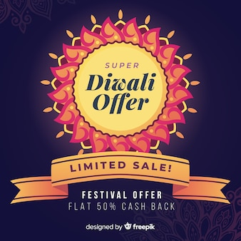 Diwali-aanbieding en beperkt verkoop plat ontwerp