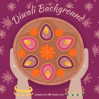 Diwali achtergrond bovenaanzicht