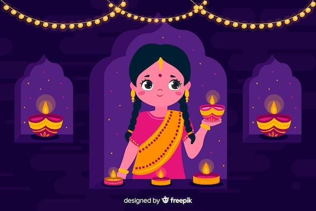 Diwali-achtergrond in plat ontwerp