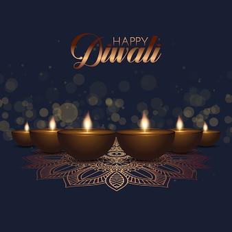 Diwali-achtergrond met olielampen en bokeh lichten