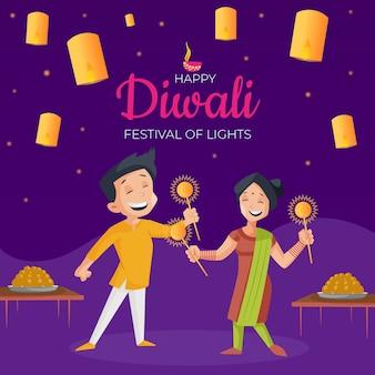 Diwali-bannermalplaatje met jongen en meisje houdt fonkelingen in handen