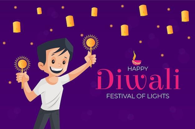 Diwali-bannermalplaatje met jongen houdt fonkelingen in de hand
